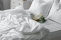 Элитное белое постельное бельё из страйп-сатина люкс (3702) комплект двуспальный 180х220 Украина