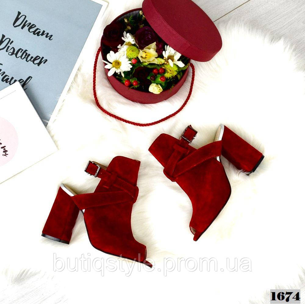 39 размер Женские красные закрытые босоножки на каблуке натуральная замша