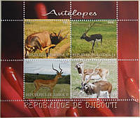 """Джибути Блок """"Животные"""" Антилопы 2011 г."""