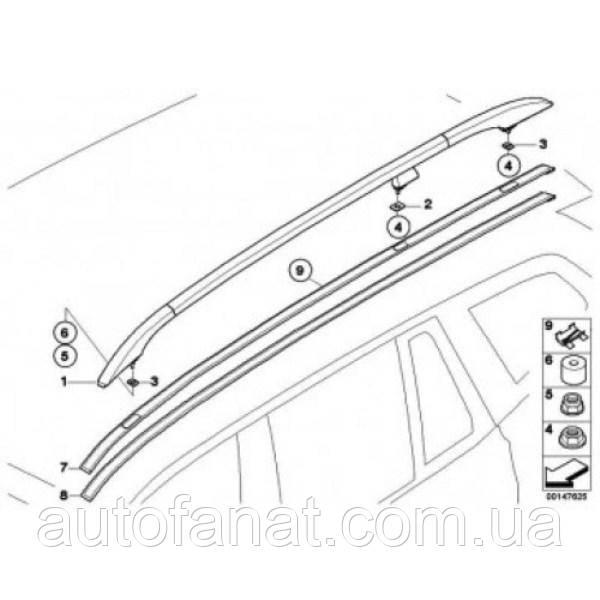 Оригинальный рейлинг на крышу правый черный BMW Х3 (E83) (51133401694)