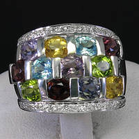 Кольцо серебро 925 пробы аметист топаз перидот иолит цитрин гранат 4,15 карат