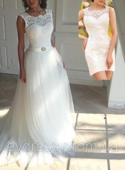 4f4558b4b56c089 Свадебное платье трансформер с отстегивающейся юбкой СВ-587 -  Интернет-магазин ev-dress