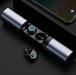 Беспроводные наушники блютуз гарнитура Wi-pods S2 Bluetooth 5.0 с зарядным чехлом-кейсом 1200 мАч. Металлик, фото 2