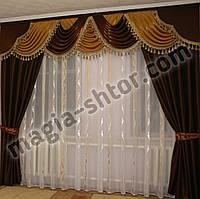 Ламбрекен со шторами. Ткань монорей