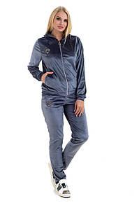 Женский велюровый костюм с капюшоном рр 46-54