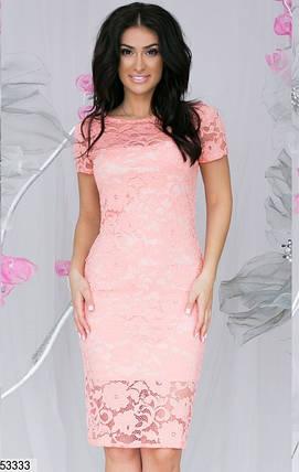 Женское платье до колен облегающее короткий рукав гипюр цвет персиковый, фото 2