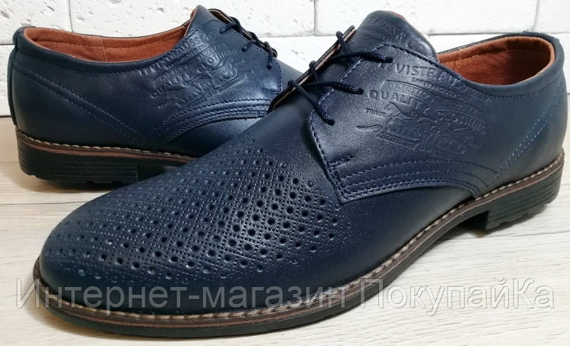 6313508dc Мужские Весна - Лето Кожаные туфли в стиле Levis (model-920) синие  перфорация