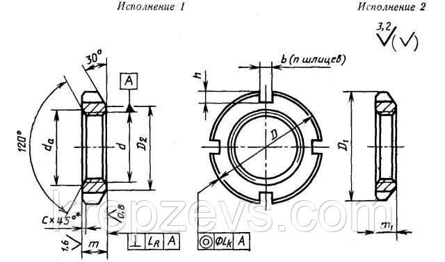 Чертеж гайки круглой шлицевой ГОСТ 11871-88, DIN 981