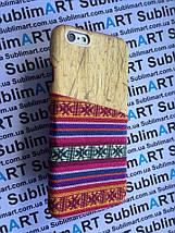 Дизайнерский чехол ручной работы для Iphone 6 (дерево ткань с кармашком), фото 2