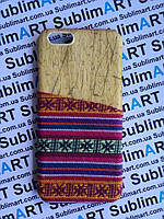 Дизайнерский чехол ручной работы для Iphone 6 (дерево ткань с кармашком)