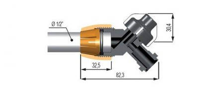 """Коннектор В-образный под трубу 1/2 """"с выходом мультиджет Geoline 8294040, фото 2"""