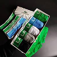 Подарочный набор мужских трусов Lacoste Лакоста боксеры шортики 5 шт хлопок