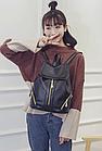 Рюкзак PU кожзам женский чёрный с красочным оформлением замочками, фото 2