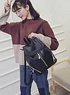 Рюкзак PU кожзам женский чёрный с красочным оформлением замочками, фото 3