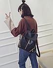 Рюкзак PU кожзам женский чёрный с красочным оформлением замочками, фото 4