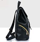 Рюкзак PU кожзам женский чёрный с красочным оформлением замочками, фото 8
