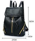 Рюкзак PU кожзам женский чёрный с красочным оформлением замочками, фото 7