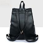 Рюкзак PU кожзам женский чёрный с красочным оформлением замочками, фото 9