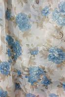 Тюль с цветами  Олеандр голубой шифон