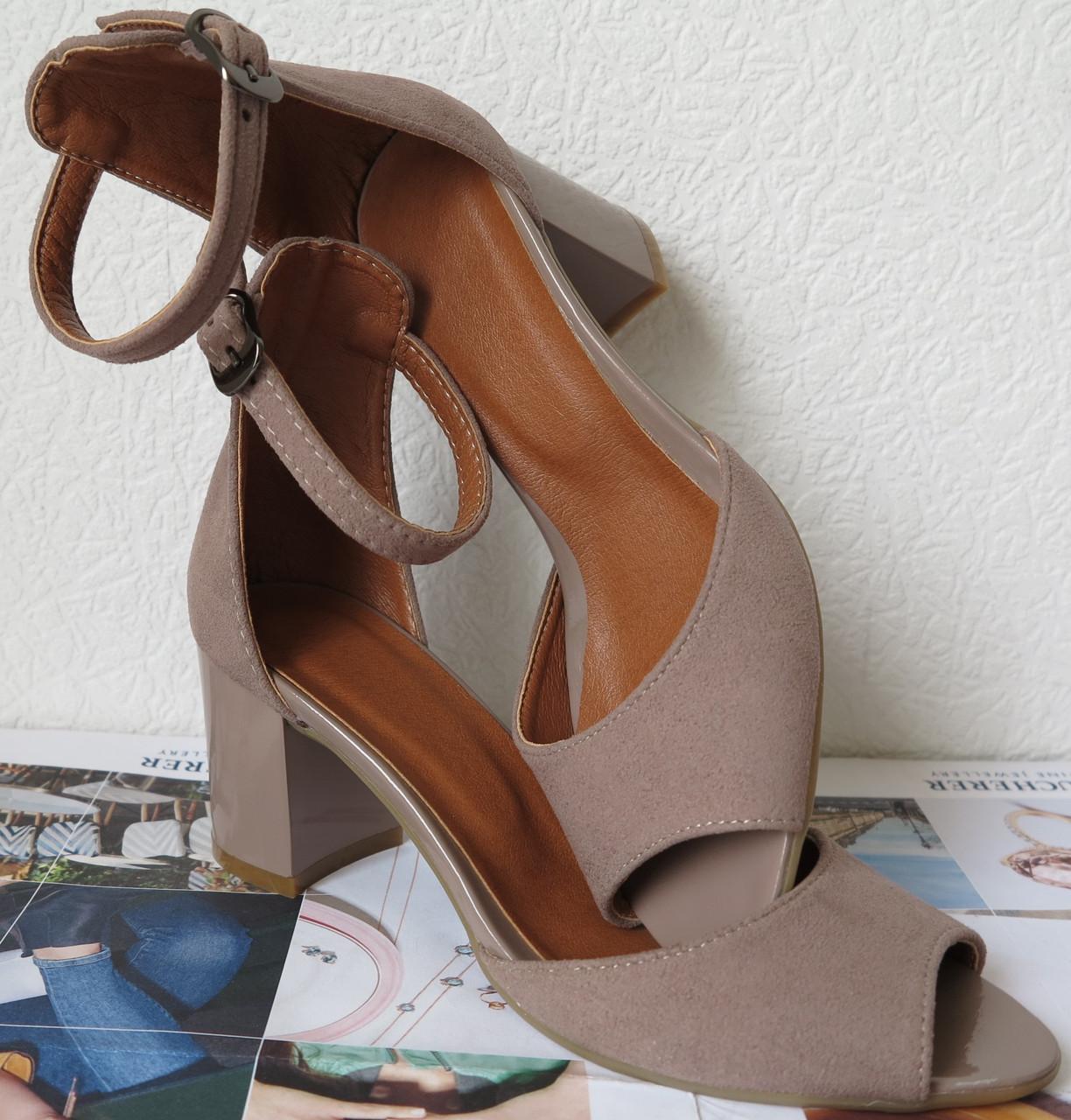 49dc58c733f6e1 Ніжні літні жіночі туфлі босоніжки каблук 6,5 см натуральна замша бежева  Goldi туфлі на