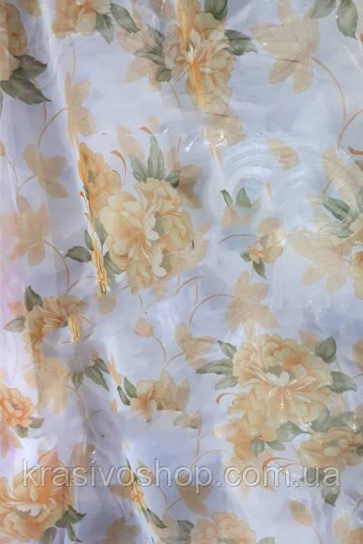 Тюль шифон с рисунком цветы Олеандр