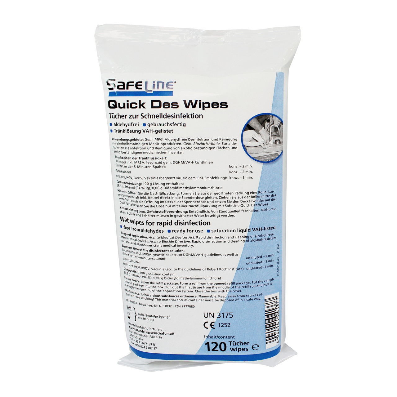 Салфетки для дезинфекции рук,  поверхностей и оборудования SAFE LINE Ampri 120 шт