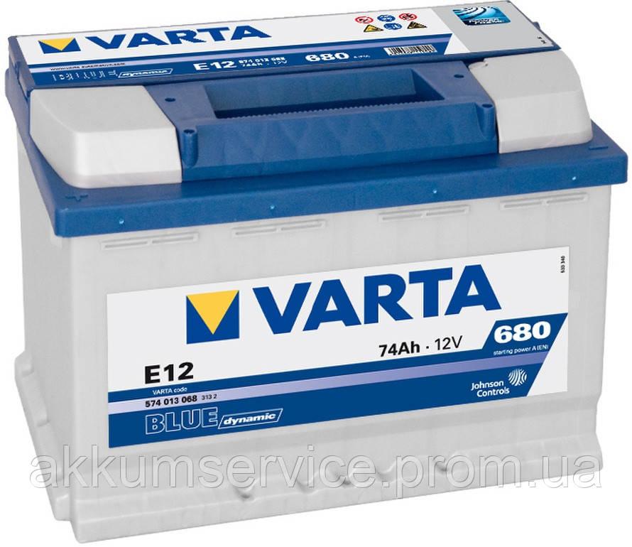 Акумулятор автомобільний VARTA BLUE DYNAMIC 74AH L+ 680A (E12)