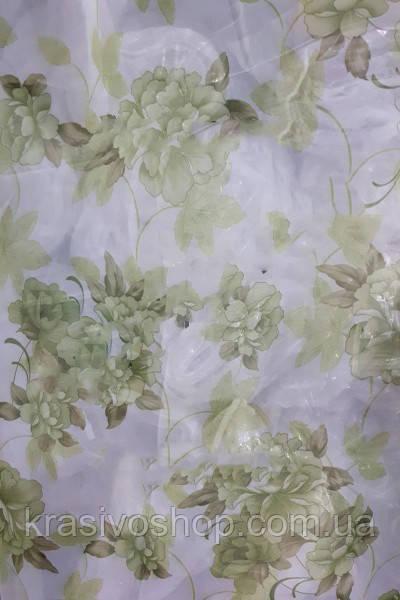 Тюль с цветами  Олеандр зеленый шифон