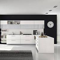 Кухня с фасадами из пластика на ДСП на фурнитуре Linken System или GTV
