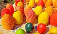 """Пасхальна воскова свічка """"Яйце квітчасте коралове"""" з бджолиного воску; Восковая свеча """"Яйцо цветастое коралловое"""" из пчелиного воска"""
