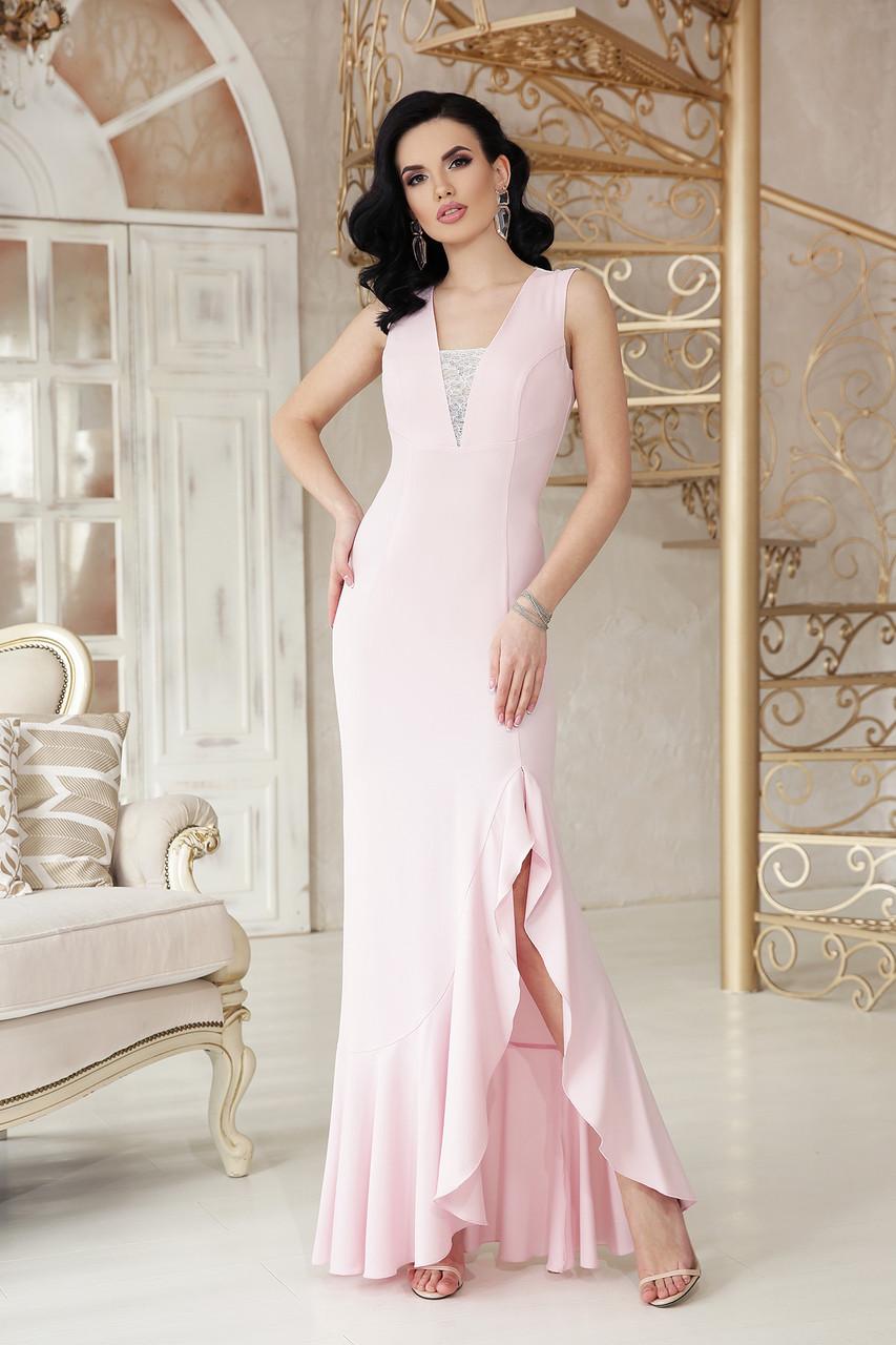 Вечернее платье в пол с разрезом облегающее без рукав с кружевами цвет пудра