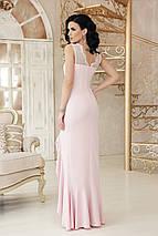 Вечернее платье в пол с разрезом облегающее без рукав с кружевами цвет пудра, фото 2
