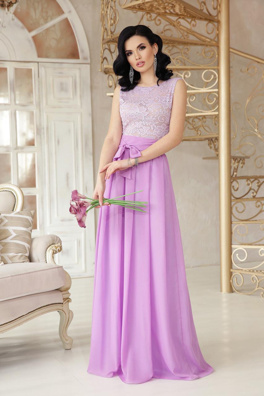 Вечернее выпускное платье длинное сиреневое