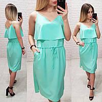 Платье с длинным рюшем на груди арт.163 , цвет мятный, фото 1