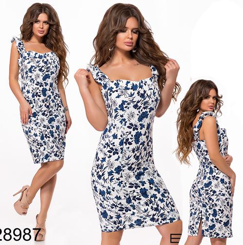 33dafb89d5b Летнее цветочное платье без рукавов (синий) 828987 - СТИЛЬНАЯ ДЕВУШКА интернет  магазин модной женской