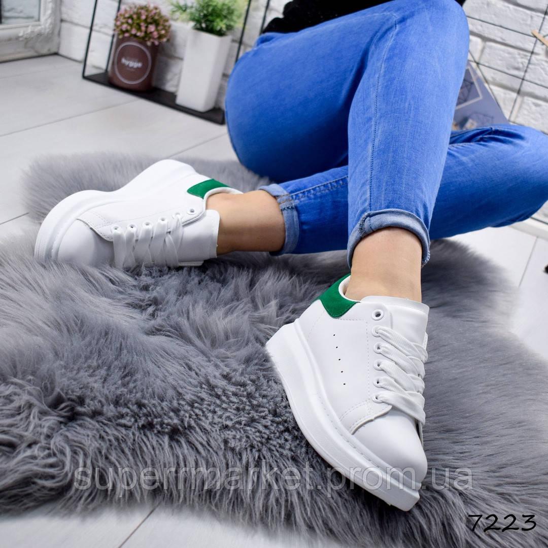 Кроссовки MQ женские, белый + зеленый, 7223