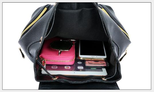 Рюкзак PU кожзам женский чёрный с красочным оформлением замочками