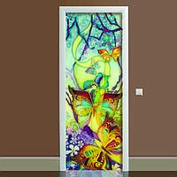 Наклейка на дверь Батик (полноцветная фотопечать, пленка для двери, декор двери)