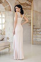 Нежное платье длинное с разрезом облегающее без рукав с кружевами цвет светлый бежевый, фото 2