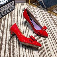 Лакированные туфли-лодочки с бантом GUCCI, фото 1