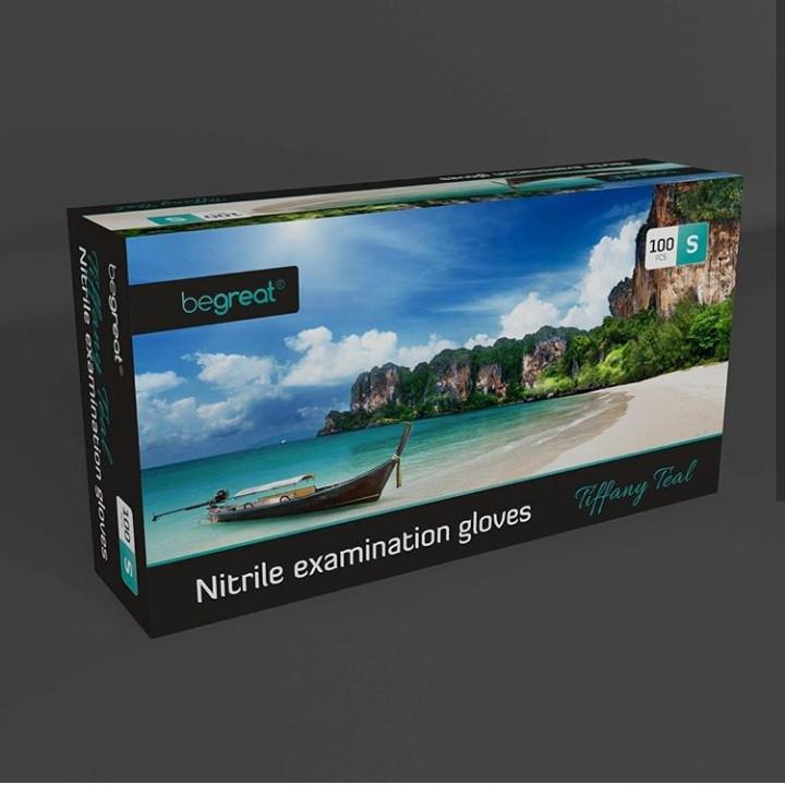 Рукавички нітрилові Fiomex Tiffany Teal, premium - 100 шт/уп, S