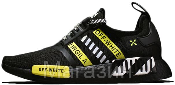 super popular caeb8 3b9d8 Мужские кроссовки OFF-WHITE x adidas NMD R1 Black / Yellow (в стиле Адидас  НМД ОФФ Вайт) черные
