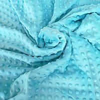 Плюш минки точка голубой плотность 360 г/м2