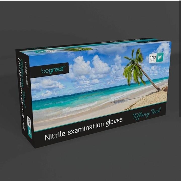 Рукавички нітрилові Fiomex Tiffany Teal, premium - 100 шт/уп, M