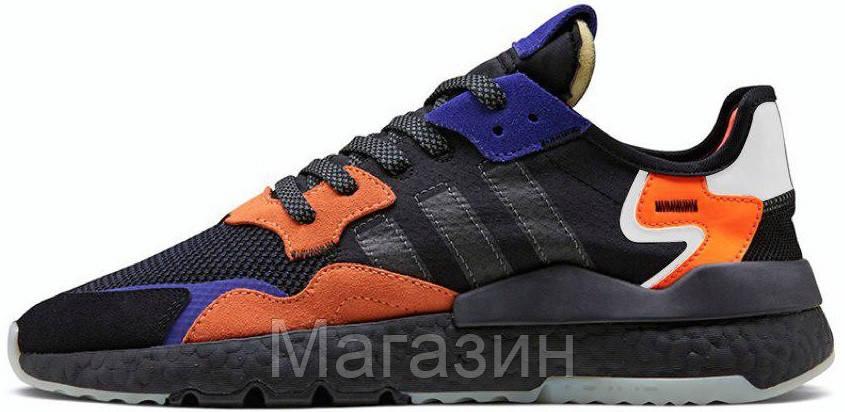 Мужские кроссовки adidas Nite Jogger Black / Orange (Адидас) черные с оранжевым