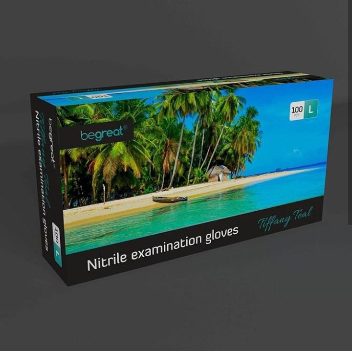 Рукавички нітрилові Fiomex Tiffany Teal, premium - 100 шт/уп, L