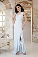 Шикарное платье макси разрез приталенное без рукав с кружевами голубое