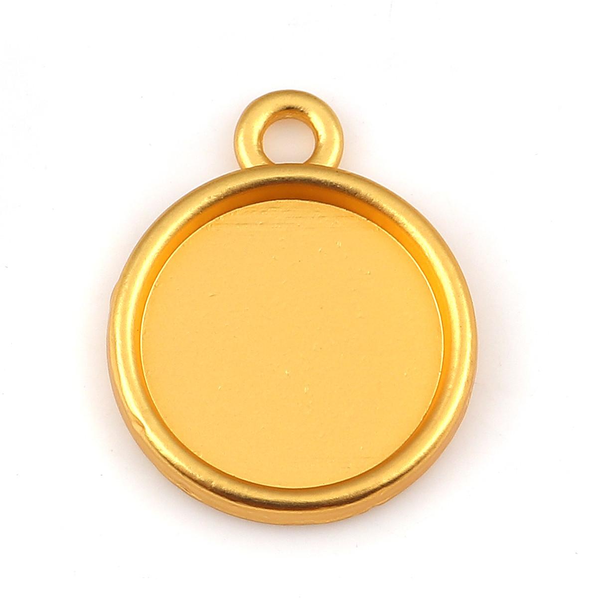 Підвіска під вставку, Кругла, Цинковий сплав, Колір: Золото, Основа під вставку 14 мм, 21 мм x 17 мм