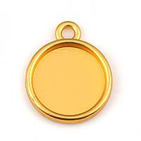 Подвеска под вставку, Круглая, Цинковый сплав, Цвет: Золото, Основа под вставку 14 мм, 21 мм x 17 мм, фото 1