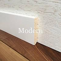 """Модерн"" 80х16 мм, Плоский белый деревянный плинтус"